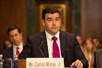 Carlos Monje, Junior, the Director of Public Policy and Philanthropy at Twitter, testifies before the United States Senate Committee on the Judiciary on Capitol Hill in Washington DC to discuss the stifling of free speech on social media on April 10, 2019.<br /> Credit: Stefani Reynolds / CNP/AdMedia