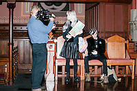"Jay Lafond of Haverhill Community Media interviews Kitty Zen, 26, and Nemo Zen, 33, (with bandana) of Cambridge, after a rally for Green Party presidential nominee Jill Stein at Old South Church in Boston, Massachusetts, on Sun., Oct. 30, 2016. Kitty Zen had a piece of tape over her mouth reading ""classism"" and held a sign reading, on one side, ""Silenced by Boston for Jill Stein."" She said she has been a Green Party member since before Jill Stein was running for president. She said, ""The way her campaign is operating...they don't care about the voices in the community."" She accused the Stein campaign of ignoring local Green Party members, instead favoring the involvement of people who had Democratic National Committee experience, especially on the Bernie Sanders Campaign."
