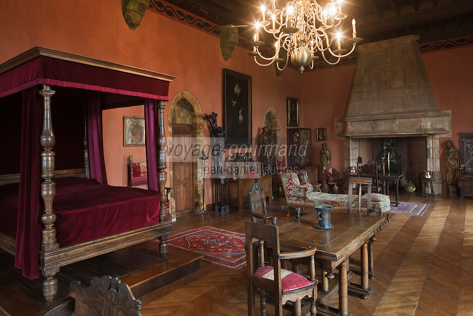 Europe/Europe/France/Midi-Pyrénées/46/Lot/Prudhomat: Le château de Castelnau-Bretenoux - Les Appartements de Jean Mouliérat, tenor de l'Opéra comique au XIX - La chambre de Jean Mouliérat [Non destiné à un usage publicitaire - Not intended for an advertising use]
