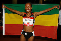 Meseret Defar of Erhtiopia set the World Record in the Women's 2 Mile Run with a time of 9:10.50sec. at the Reebok Boston Indoor Games at the Reggie Lewis Track & Athletic Center on Saturday, January 26th. 2008. Photo by Errol Anderson, The Sporting Image.