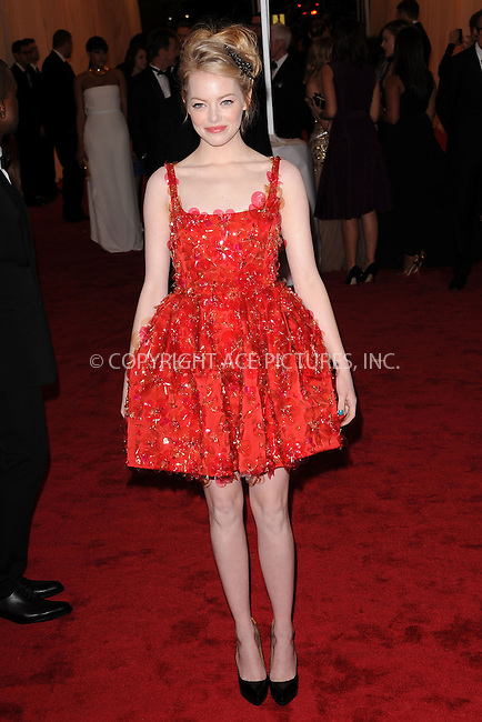 """WWW.ACEPIXS.COM . . . . . .May 7, 2012...New York City....Emma Stone attending the """"Schiaparelli and Prada: Impossible Conversations"""" Costume Institute Gala at The Metropolitan Museum of Art in New York City on May 7, 2012  in New York City ....Please byline: KRISTIN CALLAHAN - ACEPIXS.COM.. . . . . . ..Ace Pictures, Inc: ..tel: (212) 243 8787 or (646) 769 0430..e-mail: info@acepixs.com..web: http://www.acepixs.com ."""