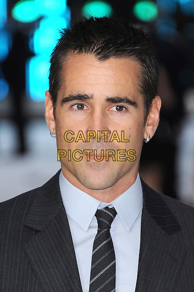 Colin Farrell.'Total Recall' UK film premiere at Vue cinema, Leicester Square, London..16th August 2012.headshot portrait blue shirt grey gray earrings .CAP/BEL.©Tom Belcher/Capital Pictures.