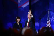 National Harbor, MD - February 23, 2017: Vice President Mike Pence waves to audience members attending the Conservative Political Action Conference at the Gaylord National Hotel in National Harbor, MD, February 23, 2017,   (Photo by Don Baxter/Media Images International)