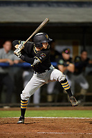 Bristol Pirates second baseman Chase Lambert (2) at bat during the second game of a doubleheader against the Bluefield Blue Jays on July 25, 2018 at Bowen Field in Bluefield, Virginia.  Bristol defeated Bluefield 5-2.  (Mike Janes/Four Seam Images)