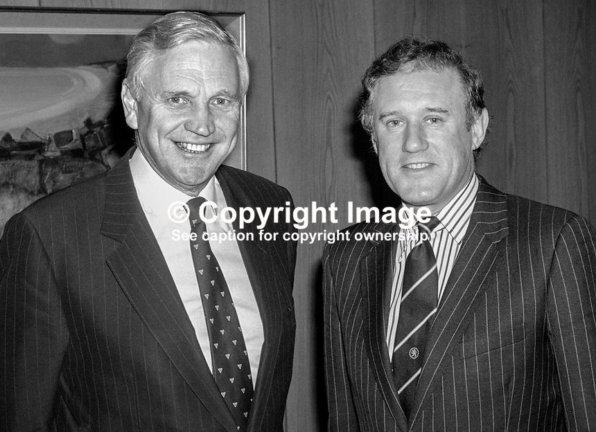 Sir Desmond Lorimer, chairman, Northern Bank, N Ireland, left, and John Roberts, chief executive, 19861115DL+JR..Copyright Image from Victor Patterson, 54 Dorchester Park, Belfast, United Kingdom, UK...For my Terms and Conditions of Use go to http://www.victorpatterson.com/Victor_Patterson/Terms_%26_Conditions.html