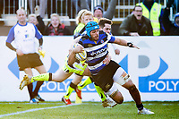 Zach Mercer of Bath Rugby runs in the match-winning try. Aviva Premiership match, between Bath Rugby and Sale Sharks on February 24, 2018 at the Recreation Ground in Bath, England. Photo by: Patrick Khachfe / Onside Images