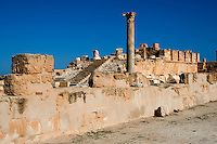 Sabratha, Libya, North Africa - Roman ruins.  Antonine Temple,  reconstructed 1920s.