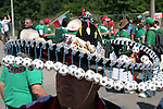 11 June 2006: A Mexico fan wears a sombrero decorated with soccer balls. Mexico played Iran at the Frankenstadion in Nuremberg, Germany in match 7, a Group D first round game, of the 2006 FIFA World Cup.