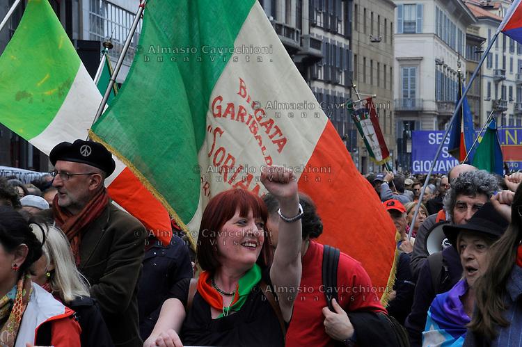 Milano, 25 Aprile 2015, Manifestazione per il 70&deg; anniversario della Liberazione dal nazifascismo.<br /> Milan, April 25, 2015, Demonstration for the 70th anniversary of liberation from fascism.