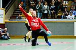 Stockholm 2014-09-18 Handboll Elitserien Hammarby IF - IFK Sk&ouml;vde :  <br /> Sk&ouml;vdes m&aring;lvakt Robert Lechte jublar efter att ha r&auml;ddat ett skott<br /> (Foto: Kenta J&ouml;nsson) Nyckelord:  Eriksdalshallen Hammarby HIF HeIF Bajen IFK Sk&ouml;vde jubel gl&auml;dje lycka glad happy