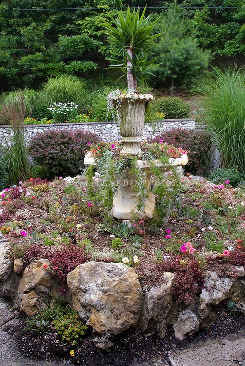 Water Fountain Garden Planter Plant Flower Stock Photography