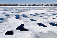 Spring ice on Rainy River <br /> Fort Frances<br /> Ontario<br /> Canada