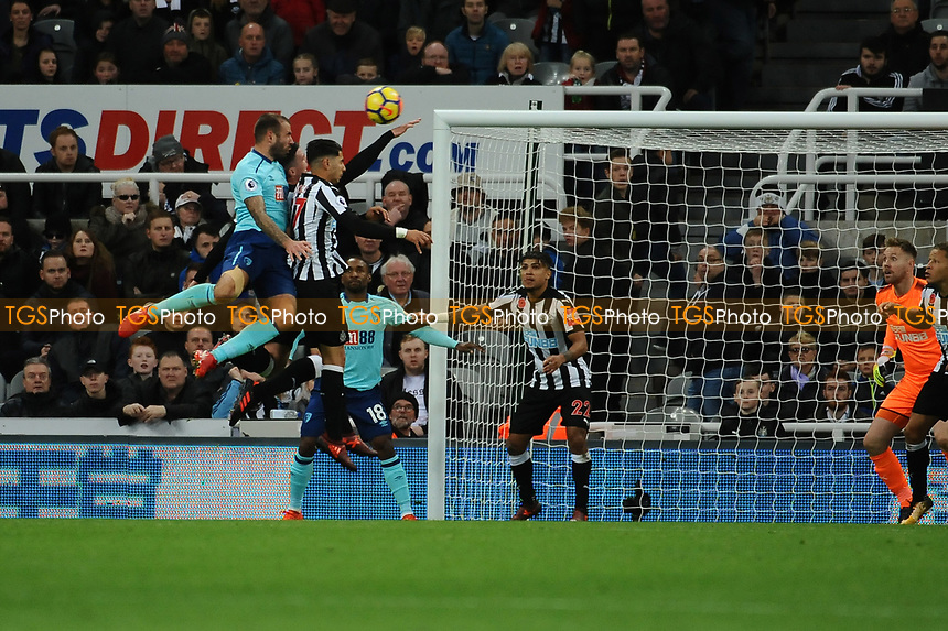 Steve Cook of Bournemouth scores the opening goal of the game during Newcastle United vs AFC Bournemouth, Premier League Football at St. James' Park on 4th November 2017