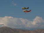Brett Schuck (14) and Robert Swortzel (26) race during the National Championship Air Races in Reno, Nevada on Friday, September 15, 2017.