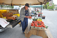 NWA Democrat-Gazette/MICHAEL WOODS &bull; @NWAMICHAELW<br /> John Obenshain, a Rogers Farmers Market producer for over 15 years, sets out a basket of fresh tomatoes Wednesday morning at the farmers market in Rogers.  Obenshain is one of several long time vendors at the Rogers  Farmers Market who were not happy to hear the announcement that Main Street Rogers will take over ownership of the Rogers Farmers Market starting next year.