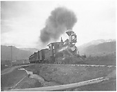 RGS 4-6-0 #22 (1st) with passenger train leaving Ridgway.<br /> RGS  Ridgway, CO  1897-1899