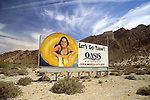 Billboard advertising water park at roadside on route to Palm Springs, CA