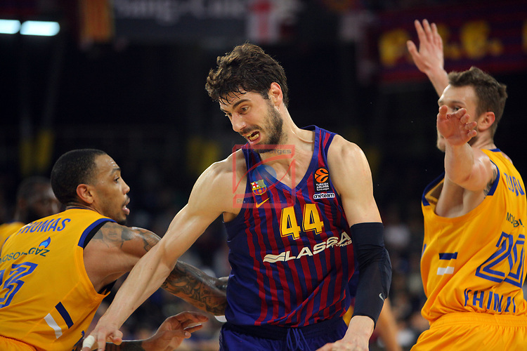 Turkish Airlines Euroleague 2018/2019. <br /> Regular Season-Round 30.<br /> FC Barcelona Lassa vs Khimki Moscow Region: 83-74. <br /> Malcolm Thomas vs Ante Tomic.