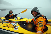 Forest Service personel kayaking in Harriman Fiord, Harriman Fiord, Prince William Sound, Chugach National Forest, Alaska.