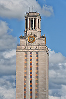 UT Tower Day - UT Tower on the University of Texas campus taken during the day light hours with blue sky and nice clouds up close.  You can read the clock on the tower here.  The tower sits at 307 feet and is 30 stories tall.  The UT Tower is a city landmark and is part of the Austin cityscape where it can be seen from many different locations through out the city.  It is a Texas landmark and is visited yearly by many locals and tourist who come to Austin every year. Austin is also the state Capital and UT it is just one of those special places where people want to visit while here.