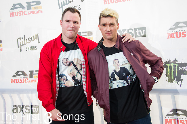 Jordan Pundik and Chad Gilbert of New Found Glory attend the 2014 AP Music Awards at the Rock And Roll Hall Of Fame and Museum at North Coast Harbor in Cleveland, Ohio.