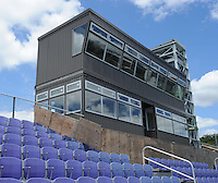 NWA Democrat-Gazette/ANDY SHUPE<br /> Work continues Wednesday, Aug. 12, 2015, as workers with Southern Bleachers in Graham, Texas, assemble a new press box atop the stands at Harmon Stadium at the school. The structure still lacks one more story, an upper level that will house video photographers and utilities.