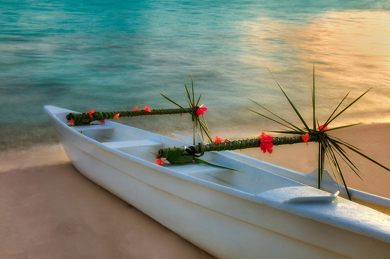 Decorated outrigger canoe. Bora Bora. French Polyenesia