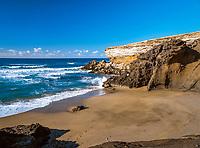 Spanien, Kanarische Inseln, Fuerteventura, rauhe Westkueste bei La Pared, wegen starker Stoemung ist hier das Baden nicht ganz ungefaehrlich | Spain, Canary Island, Fuerteventura, rough coastline near La Pared