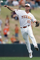 Shortstop Brandon Loy #10 of the Texas Longhorns throws the ball to first against the Oklahoma Sooners in NCAA Big XII baseball on May 1, 2011 at Disch Falk Field in Austin, Texas. (Photo by Andrew Woolley / Four Seam Images)