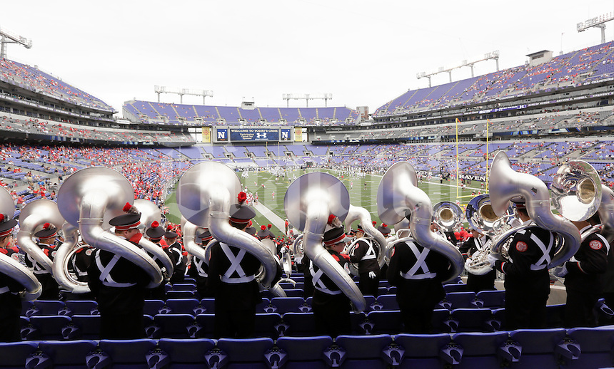 The Ohio State University Marching Band takes their seats for Saturday's NCAA Division I football game between the Ohio State Buckeyes and the Navy Midshipmen at M&T Bank Stadium in Baltimore on August 30, 2014. (Dispatch Photo by Barbara J. Perenic)