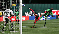 Blas Perez (center) shoots the ball. Guadeloupe defeated Panama 2-1 during the First Round of the 2009 CONCACAF Gold Cup at Oakland Coliseum in Oakland, California on July 4, 2009.