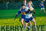 St. Senan's V Castleislands Desmonds: Desmonds Thomas Hickey wins the ball from St. Senan's Sean T. Dillon in their quarter final clash in the  North Kerry Bernard O'Callaghan Memorial Senior football championship  in Frank Sheehy Park, Listowel on Sunday last.