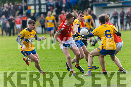 Brosna V St. Senan's: Anyone's ball as St. Senan's Barry Mahony, Kieran Lyons & Sean T. Dillon battle to win the ball from Brosna's Kieran O'Donnell & Paul Walsh in the Bernard O'Callaghan North Kerry Senior Championship Final sponsored by McMunn's Bar & Restaurant, Ballybunion in O'Rahilly Park, Ballylongford on Sunday last.