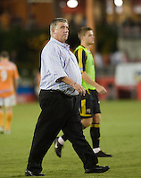 Columbus Crew head coach Sigi Schmid. The Houston Dynamo tied the Columbus Crew 1-1 in a regular season MLS match at Robertson Stadium in Houston, TX on August 25, 2007.