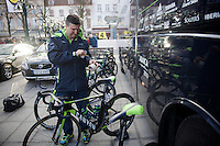 Movistar mechanic sticking course info onto the tob tube of John Gadret's (FRA/Movistar) bike before departure<br /> <br /> 99th Ronde van Vlaanderen 2015