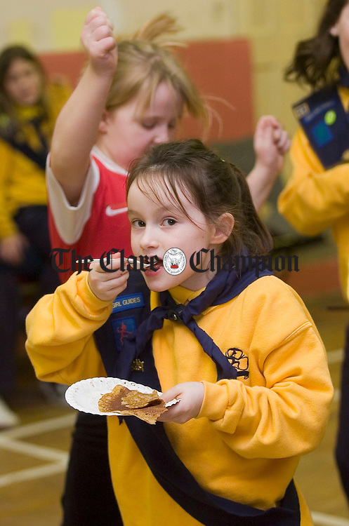 Claudia Doohan enjoys a pancake at the Mullagh Brownies Pancake Party in aid of the National Childrens Hospital in Tallaght. Photograph by John Kelly.
