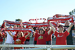 14 November 2010: Maryland fans celebrate a goal. The University of Maryland Terrapins defeated the University of North Carolina Tar Heels 1-0 at WakeMed Soccer Park in Cary, North Carolina in the ACC Men's Soccer Tournament Championship game.