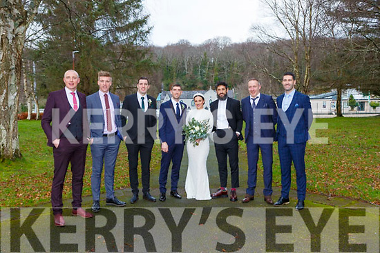 Catriona Galvin Ballinclogher, Lixnaw and Killian Young Renard with Killian's Kerry team mates l-r: Kieran Donaghy, Tommy Walsh, David Moran, Paul Galvin, Tommy Griffin and Bryan Sheahan at their wedding in the Prince of Peace church Fossa on New Years Eve