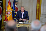 King Juan Carlos of Spain attends the official abdication ceremony at the Royal Palace. June 18 ,2014. (ALTERPHOTOS/Pool)