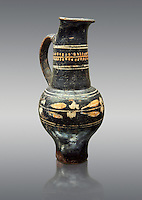 Early 3rd century B.C oenochoe, wine jug, with a trilobata spout, black and overpainted , inv 4380,   National Archaeological Museum Florence, Italy , against grey