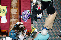 People mill around after Green Party presidential nominee Jill Stein spoke at a campaign rally at Old South Church in Boston, Massachusetts, on Sun., Oct. 30, 2016.