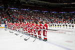 January 5, 2010: The Wisconsin Badgers team lines up during introductions prior to an exhibition women's hockey game against Team USA at the Kohl Center in Madison, Wisconsin on January 5, 2010.   Team USA won 9-0. (Photo by David Stluka)