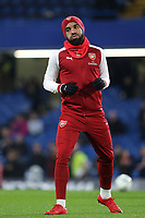 Arsenal's Alexandre Lacazette warms up pre-match during Chelsea vs Arsenal, Caraboa Cup Football at Stamford Bridge on 10th January 2018