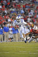 02 October 2010:  Duke WR Conner Vernon (2) catches a pass and runs for a long gain.  The Maryland Terrapins defeated the Duke Blue Devils 21-16 at Capital One Field at Byrd Stadium in College Park, MD.