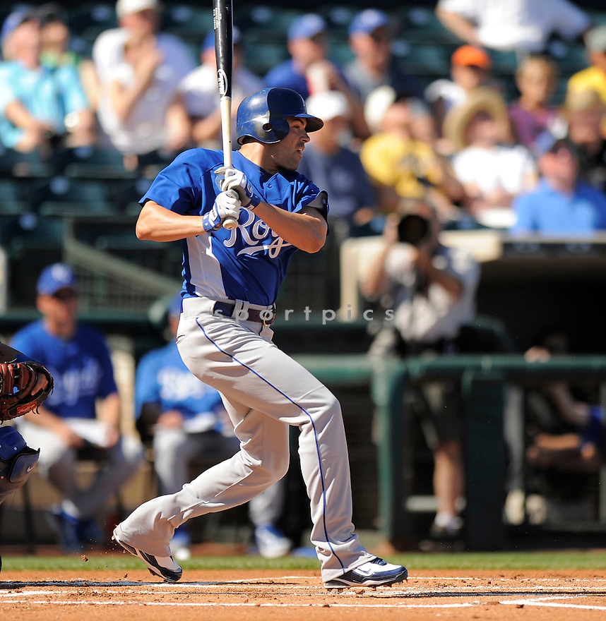 DAVID DEJESUS, of the Kansas City Royals, in action during the Royals game against the Texas Ranger on February 23, 2009 in Surprise, Arizona. The Rangers beat Royals 15-3