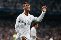 Real Madrid´s Portuguese forward Cristiano Ronaldo<br /> lamenting during the UEFA Champions League match between Real Madrid and Manchester City at the Santiago Bernabeu Stadium in Madrid, Wednesday, May 4, 2016.