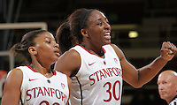 STANFORD, CA - February 23, 2012:  Amber Orrange and Nnemkadi Ogwumike celebrate a basket during Stanford's 68-46 victory over Colorado in Stanford, California on February 23,  2012.
