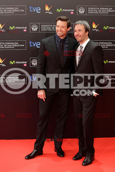 "Australian actor Hugh Jackman (L) and director Denis Villeneuve posse (R) in the photocall for the presentation of the ""Prisioners"" film during the 61st San Sebastian Film Festival in the Northern Spanish Basque city of San Sebastian on September 27, 2013. (ALTERPHOTOS/Victor Blanco) /NortePhoto"