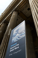 "Banner advertising the Hokusai exhibition, outside the British Museum, London, UK, June 21, 2017. ""Hokusai: beyond the Great Wave"" was an exhibition of the works of the ukiyoe woodblock print artist Katsushika Hokusai (1760-1849), held at the British Museum in London from 25 May to 13 August 2017. It focused on works from the last 30 years of the artist's life."