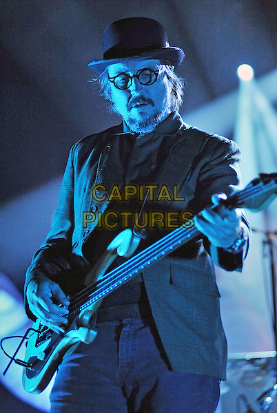"PRIMUS .Vocalist/bassist LES CLAYPOOL of the band PRIMUS performs at a stop on their ""Green Naugahyde Tour"" held at the Stage AE, Pittsburgh, PA, USA.                             .October 7th, 2011.performing performance on stage in concert live gig music half length black jacket hat bass glasses goatee facial hair.CAP/ADM/JN.©Jason L Nelson/AdMedia/Capital Pictures."